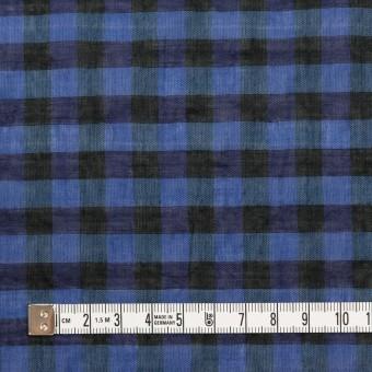 コットン&ポリウレタン×チェック(ブルー&ネイビー)×ボイルシャーリング_全3色 サムネイル4