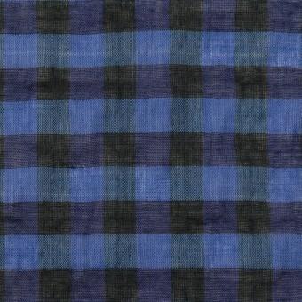 コットン&ポリウレタン×チェック(ブルー&ネイビー)×ボイルシャーリング_全3色