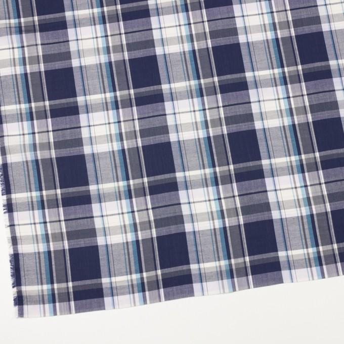 コットン&レーヨン×チェック(ネイビー&グレー)×ローン イメージ2