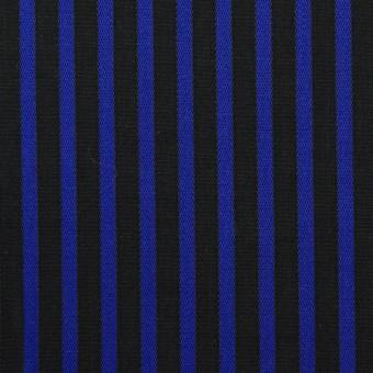 コットン×ストライプ(マリンブルー&ブラック)×ブロードジャガード