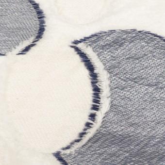 ナイロン&レーヨン混×サークル(ミルキーホワイト&ネイビー)×オーガンジー・カットジャガード