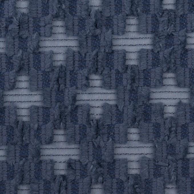 コットン&ナイロン×幾何学模様(アッシュネイビー)×オーガンジー・カットジャガード イメージ1