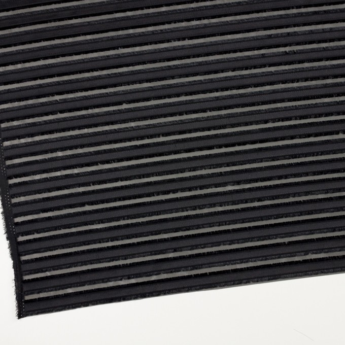 ポリエステル×ボーダー(ブラック)×ジョーゼット・カットジャガード イメージ2