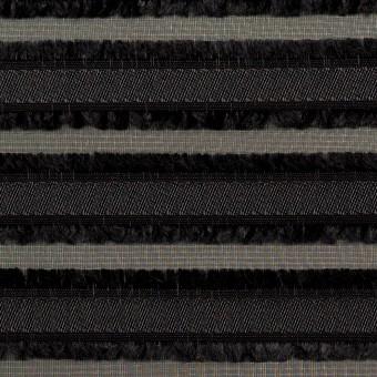ポリエステル×ボーダー(ブラック)×ジョーゼット・カットジャガード