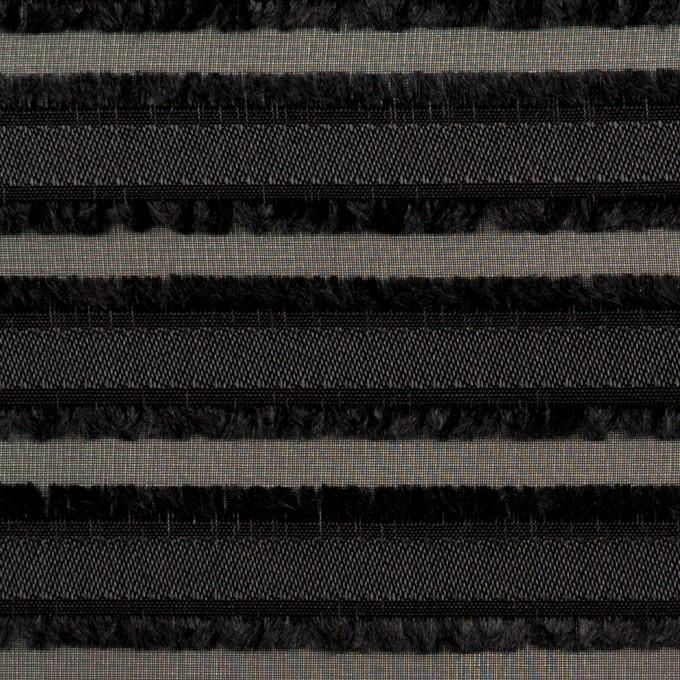 ポリエステル×ボーダー(ブラック)×ジョーゼット・カットジャガード イメージ1