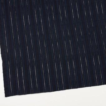 コットン×ストライプ(ダークネイビー)×ローン刺繍 サムネイル2