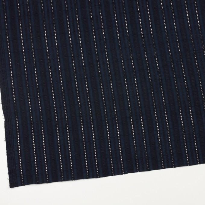 コットン×ストライプ(ダークネイビー)×ローン刺繍 イメージ2