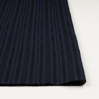 コットン×ストライプ(ダークネイビー)×ローン刺繍 サムネイル3