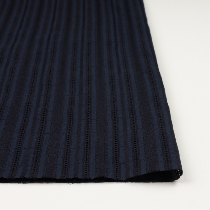 コットン×ストライプ(ダークネイビー)×ローン刺繍 イメージ3
