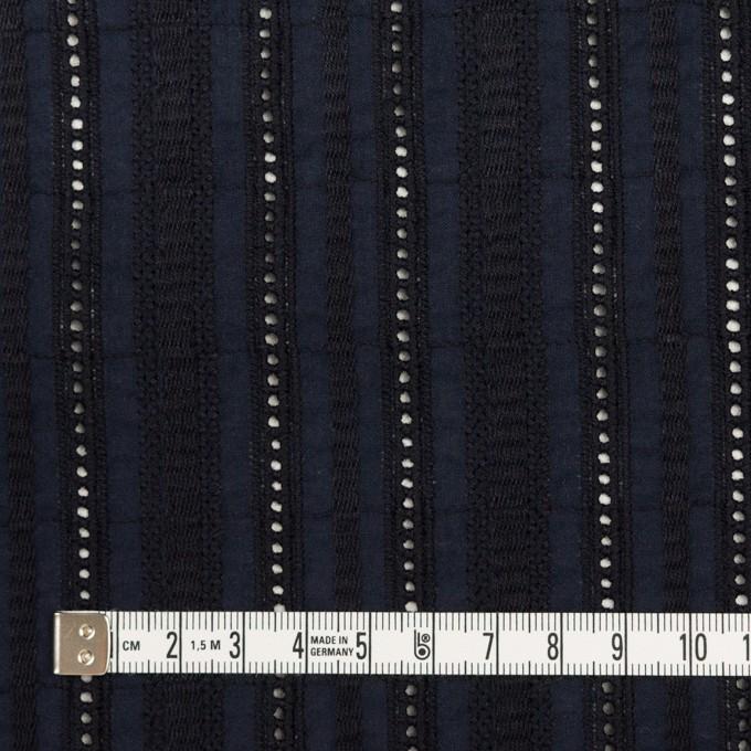 コットン×ストライプ(ダークネイビー)×ローン刺繍 イメージ4