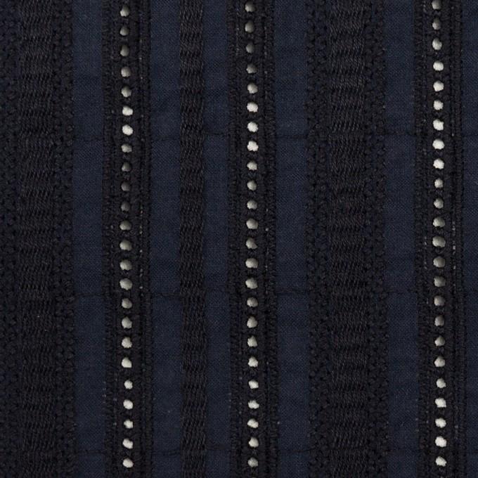 コットン×ストライプ(ダークネイビー)×ローン刺繍 イメージ1