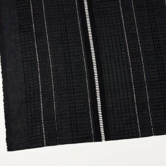 コットン×ストライプ(ブラック)×ローン刺繍 サムネイル2