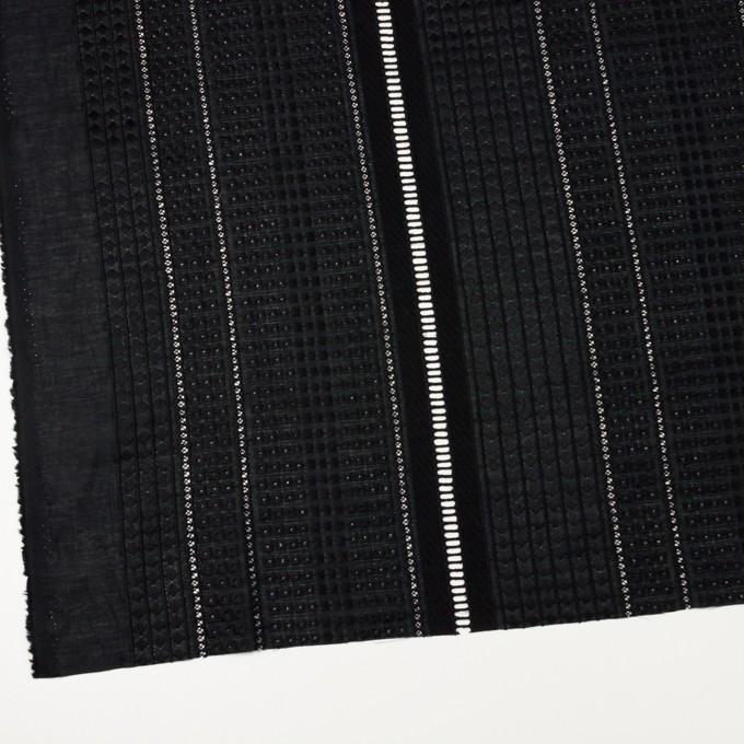 コットン×ストライプ(ブラック)×ローン刺繍 イメージ2