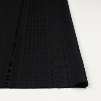 コットン×ストライプ(ブラック)×ローン刺繍 サムネイル3