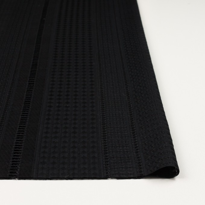 コットン×ストライプ(ブラック)×ローン刺繍 イメージ3