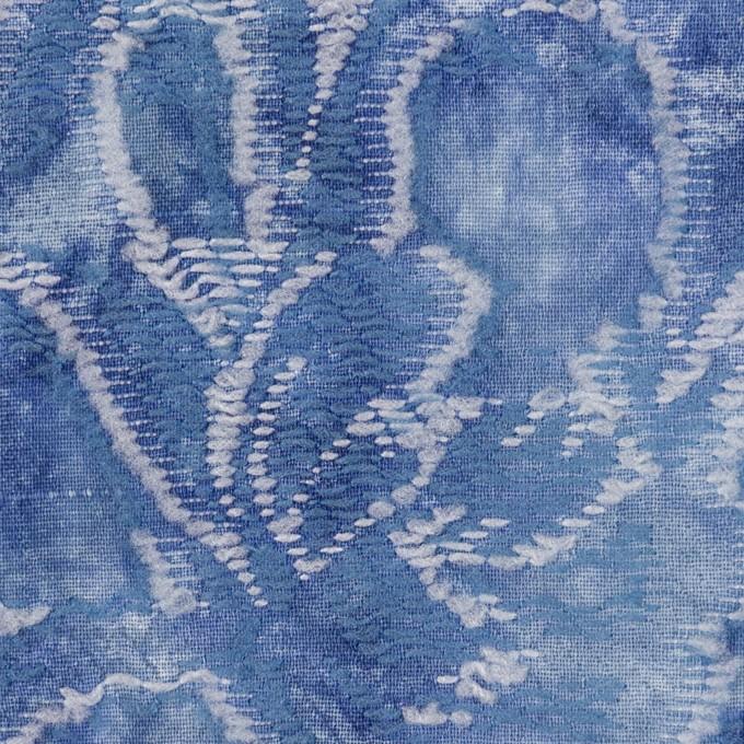 コットン&レーヨン混×フラワー(アッシュブルー)×ガーゼ・カットジャガード イメージ1