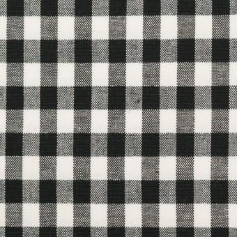 コットン&ポリウレタン×チェック(ブラック)×ポプリンストレッチ