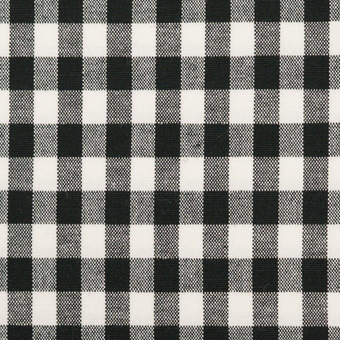 コットン&ポリウレタン×チェック(ブラック)×ポプリンストレッチ イメージ1