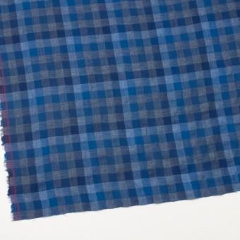 コットン×チェック(ブルー&グレー)×Wガーゼ サムネイル2