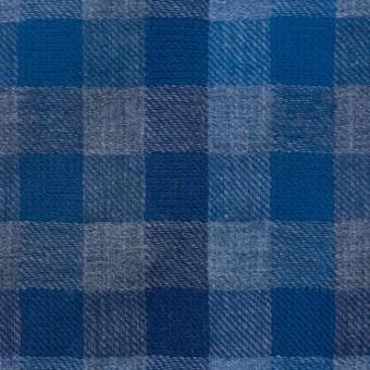 コットン×チェック(ブルー&グレー)×Wガーゼ