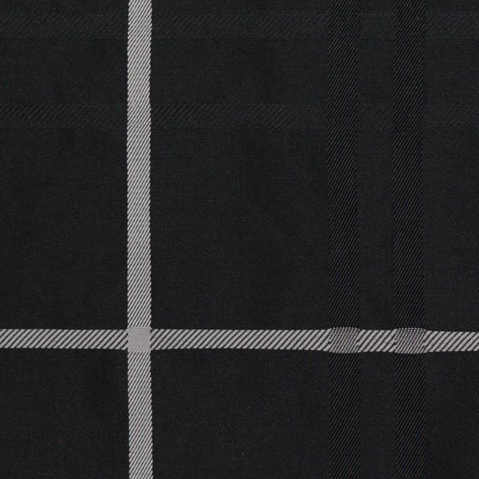 ポリエステル×チェック(ブラック)×形状記憶タフタジャガード イメージ1