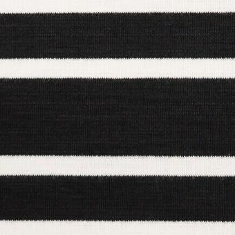コットン&モダール混×ボーダー(ブラック)×Wニット