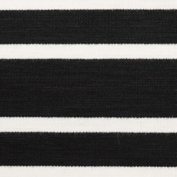 コットン&モダール混×ボーダー(ブラック)×Wニット イメージ1