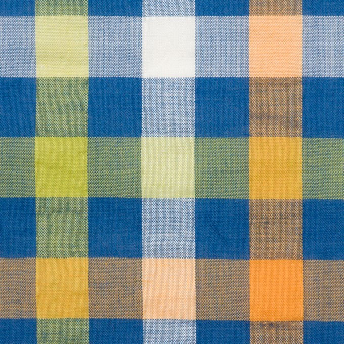 コットン&ポリエステル×チェック(オレンジ、ライムグリーン&ネイビー)×サッカー_全2色 イメージ1