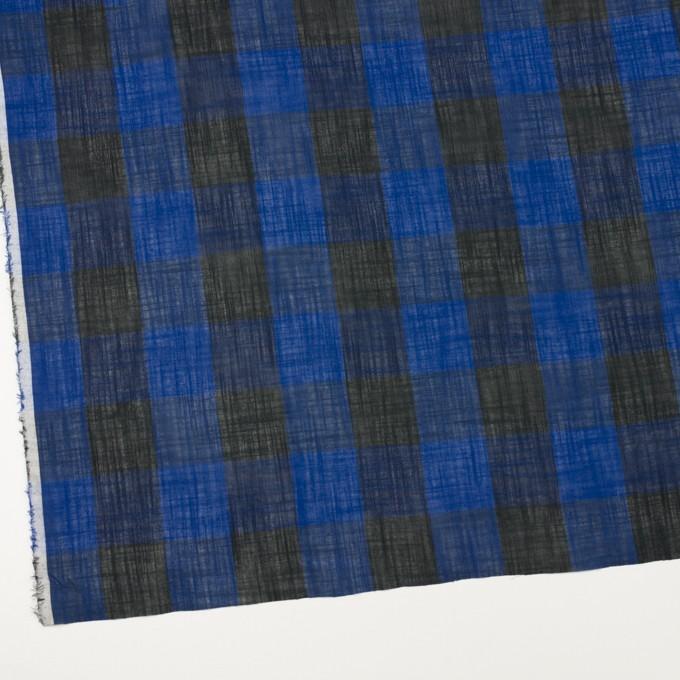 コットン&リネン×チェック(マリンブルー&ブラック)×スラブボイル イメージ2