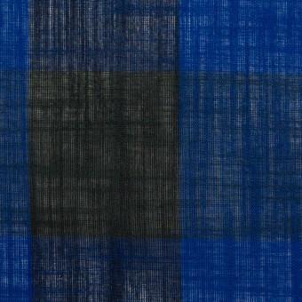 コットン&リネン×チェック(マリンブルー&ブラック)×スラブボイル