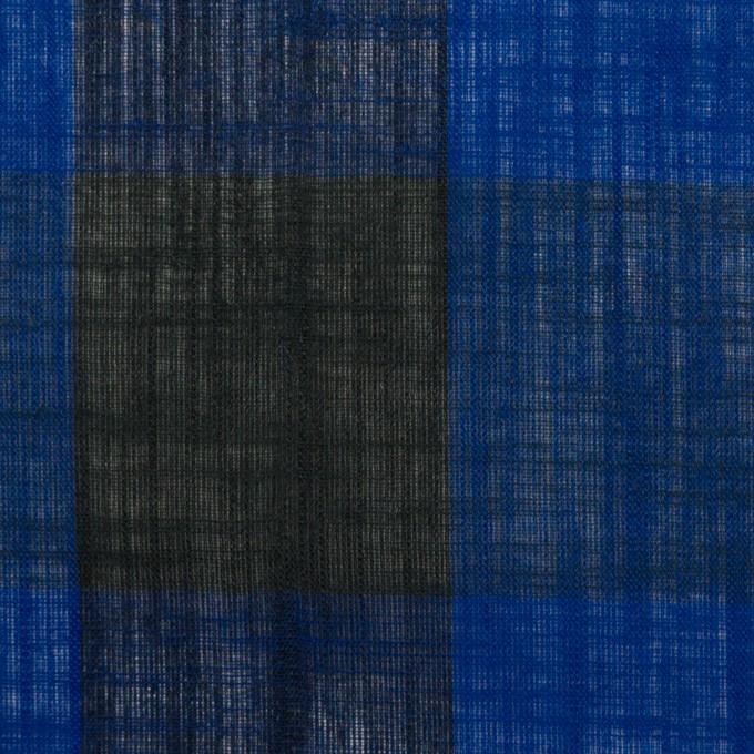 コットン&リネン×チェック(マリンブルー&ブラック)×スラブボイル イメージ1