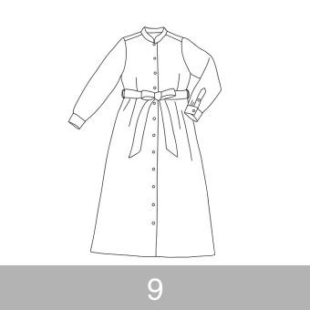 オリジナルパターン#015_ロングシャツワンピース_9号 サムネイル1