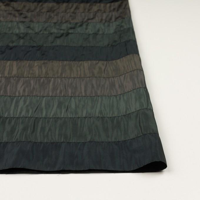 ポリエステル×ボーダー(グリーン、ブラウン&ブラック)×タフタシャーリング イメージ3