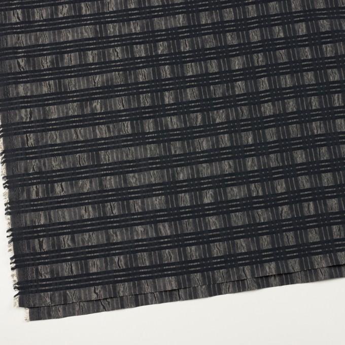 ポリエステル&ナイロン×ボーダー(メタル&ブラック)×タフタジャガード イメージ2