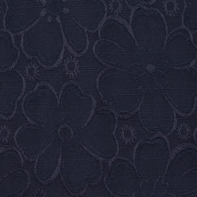 コットン&ポリエステル×フラワー(ネイビー)×シャンタン・ジャガード イメージ1