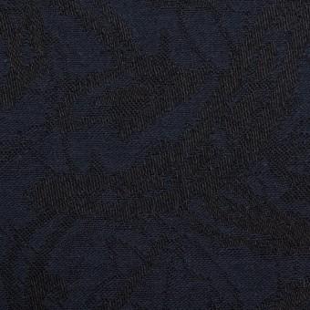 コットン&ポリウレタン×幾何学模様(ネイビー&ブラック)×ジャガード・ストレッチ サムネイル1