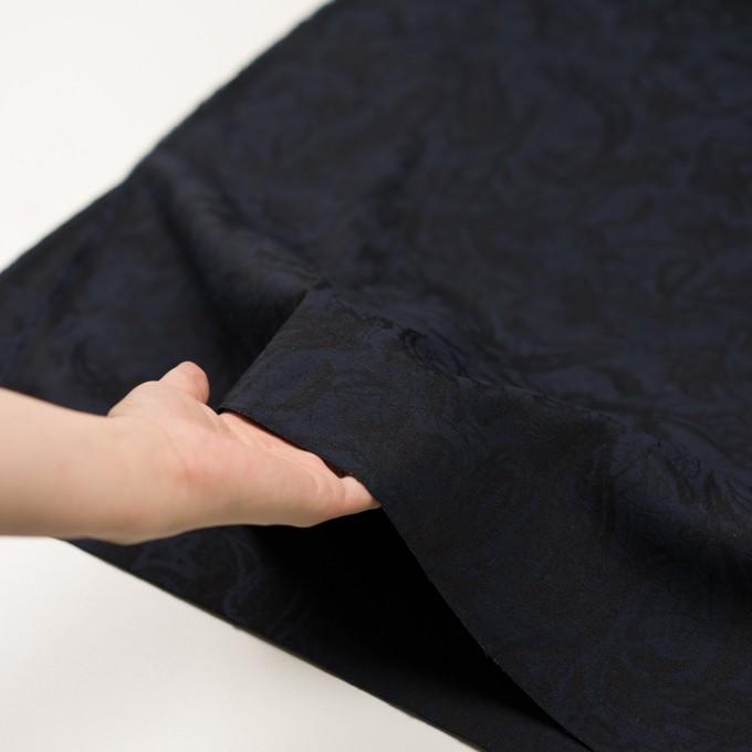 コットン&ポリウレタン×幾何学模様(ネイビー&ブラック)×ジャガード・ストレッチ イメージ5