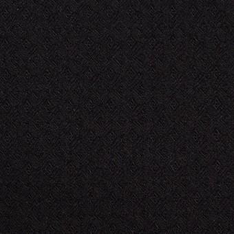 コットン&ポリエステル混×無地(ブラック)×ジャガード・ストレッチ