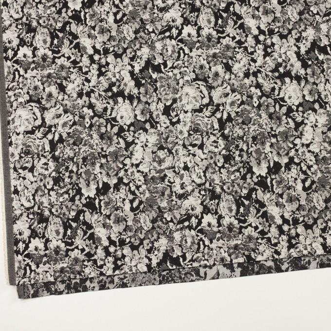 コットン&ポリウレタン×フラワー(ブラック)×ジャガード・ストレッチ イメージ2