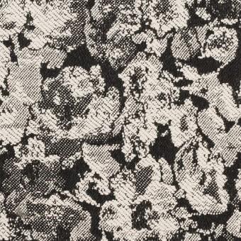コットン&ポリウレタン×フラワー(ブラック)×ジャガード・ストレッチ