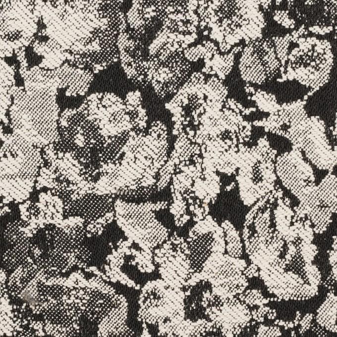 コットン&ポリウレタン×フラワー(ブラック)×ジャガード・ストレッチ イメージ1