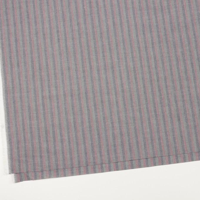 コットン×ストライプ(グレイッシュピンク、アッシュネイビー&モスグレー)×ローン イメージ2