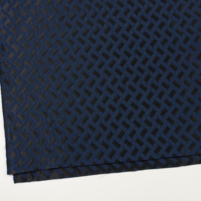 ポリエステル×幾何学模様(プルシアンブルー&ブラック)×フクレジャガード イメージ2
