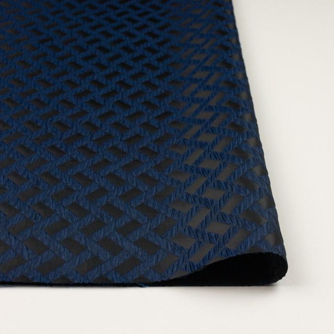 ポリエステル×幾何学模様(プルシアンブルー&ブラック)×フクレジャガード イメージ3