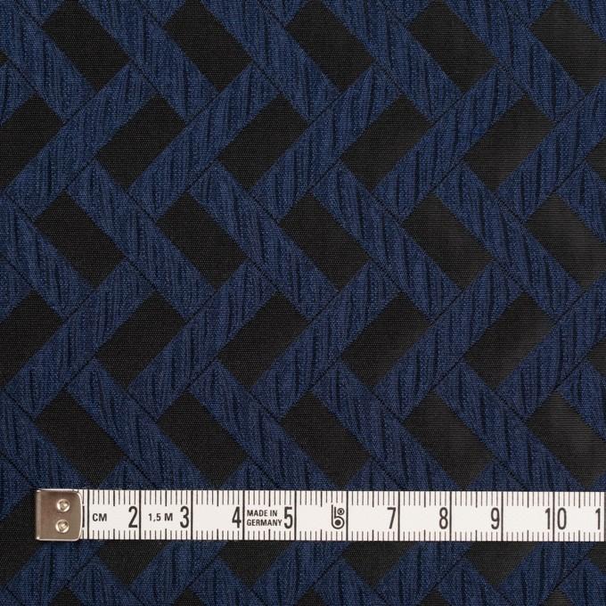 ポリエステル×幾何学模様(プルシアンブルー&ブラック)×フクレジャガード イメージ4