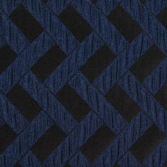 ポリエステル×幾何学模様(プルシアンブルー&ブラック)×フクレジャガード