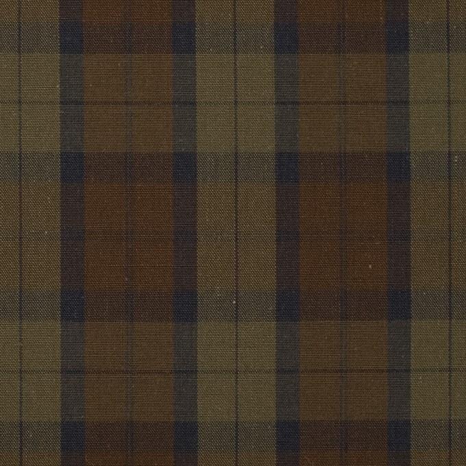 コットン×チェック(カーキグリーン&カーキブラウン)×ブロード イメージ1