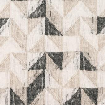コットン&ウール×幾何学模様(アイボリー&チャコール)×ジャガードニット_全2色