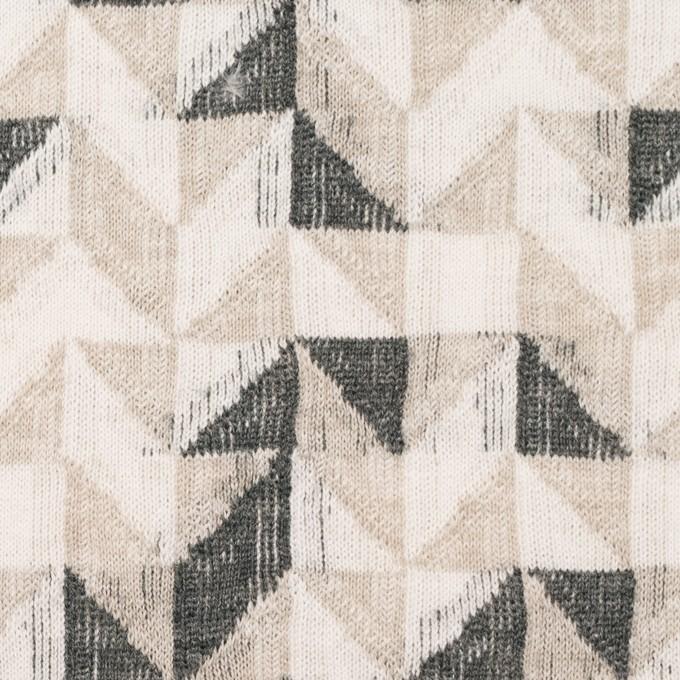 コットン&ウール×幾何学模様(アイボリー&チャコール)×ジャガードニット_全2色 イメージ1