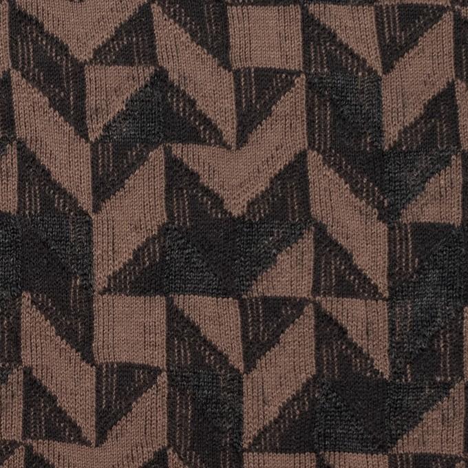 コットン&ウール×幾何学模様(モカ&ダークブラウン)×ジャガードニット_全2色 イメージ1